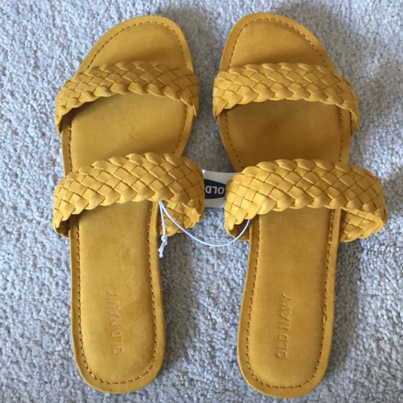 Old Navy Shoes - NWT faux suede 8 mustard yellow braided sandals